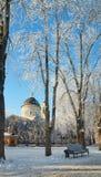HOMIEL', BIELORUSSIA - 23 GENNAIO 2018: Peter e Paul Cathedral nella città parcheggiano nel gelo ghiacciato Immagini Stock