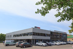 Homiel', Bielorussia - 3 giugno 2015: Il commerciante ufficiale di Nissan - motori Autoworld, via Khatayevich 32, Immagini Stock Libere da Diritti