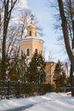 Homiel', Bielorussia, il 26 gennaio 2006: Torre del palazzo dell'insieme di Rumyantsev-Paskevich, del palazzo e del parco, paesag Immagine Stock