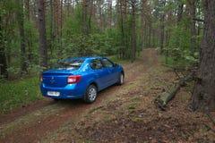 HOMIEL', BIELORUSSIA - 24 MAGGIO 2017: L'automobile blu di RENO LOGAN ha parcheggiato in un'abetaia scura Fotografie Stock