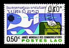 Free Homing Pigeon And Telex, World Communication Year Serie, Circa 1 Stock Image - 116018371