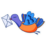 Homing pigeons  cartoons. Dove with a letter  illustration, hand drawn Royalty Free Stock Photos