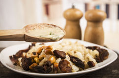 Hominy and toasted corn nuts  mote con chicharron Stock Photography
