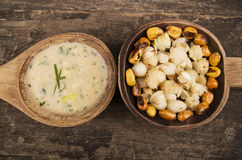 Hominy and toasted corn nuts mote with tostado Royalty Free Stock Photography