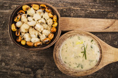 Hominy and toasted corn nuts mote with tostado Royalty Free Stock Photo