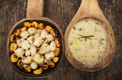 Hominy and toasted corn nuts mote with tostado. An aji sauce on wooden spoons ecuadorian traditional food Royalty Free Stock Images
