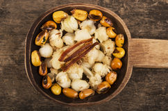 Hominy and toasted corn nuts mote with tostado. On wooden spoon ecuadorian traditional food Stock Image