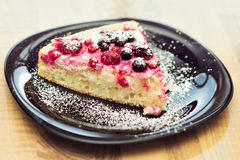 Hommade cottage-cheese tart with forest fruit Royalty Free Stock Image