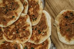 Hommade Turkish Pizza, Lahmacun Stock Image