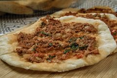 Hommade Turkish Pizza, Lahmacun Royalty Free Stock Photo