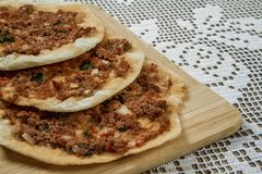 Hommade Turkish Pizza, Lahmacun Royalty Free Stock Photography