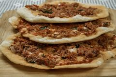 Hommade Turkish Pizza, Lahmacun Royalty Free Stock Images