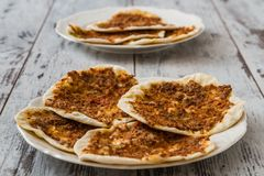 Hommade Turkish Pizza, Lahmacun Stock Images