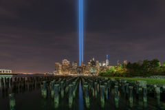 Hommage dans la lumière - 11 septembre Image stock