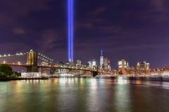 Hommage dans la lumière - 11 septembre Images stock