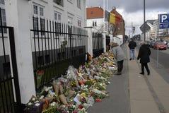 HOMMAGE DE SALAIRE DE PERSONNES AUX VICTIMES DE BRUXELLES Photos libres de droits