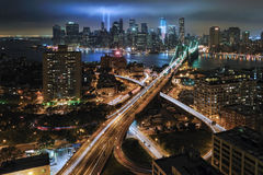 Hommage de WTC 9/11 dans la lumière Photographie stock