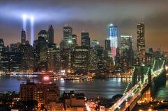 Hommage de WTC 9/11 dans la lumière Images libres de droits