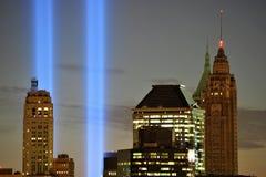 Hommage de WTC 9/11 en plan rapproché léger Image libre de droits