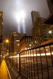 Hommage de WTC dans la lumière le 11 septembre 2011 Photographie stock libre de droits
