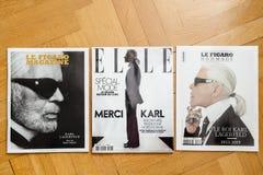 Hommage français multiple Karl Lagerfeld de magazines d'hommage image libre de droits