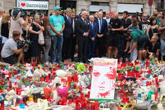 Hommage to Barcelona victims. BARCELONA/SPAIN - 20 AUGUST 2017: Footbal club Betis management giving tribute to the victims of Ramblas attack in Barcelona stock photo