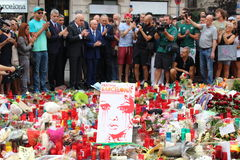 Hommage to Barcelona victims. BARCELONA/SPAIN - 20 AUGUST 2017: Footbal club Betis management giving tribute to the victims of Ramblas attack in Barcelona stock photography