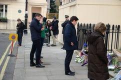 Hommages à Minster principal britannique ex Margret Thatcher Who Died L Photos libres de droits