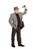 Homme à l'âge de la salutation quelqu'un Images stock