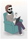 Homme à l'aide de l'ordinateur portable tout en ayant le café sur le sofa, illustration de vecteur illustration stock