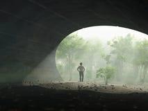 Homme à l'extrémité du tunnel illustration stock
