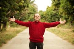 homme sur la route Image libre de droits
