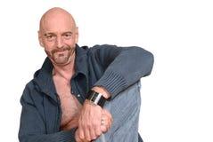 Homme âgé moyen attirant photographie stock libre de droits
