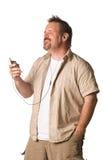 Homme écoutant la musique avec l'expression photo libre de droits