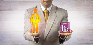Homme égalisant le travailleur de sexe masculin avec la croissance négative image libre de droits