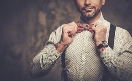 Homme élégant avec les bretelles de port de noeud papillon et pose sur le fond foncé Photos libres de droits