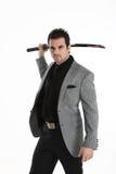 Homme élégant bel avec l'épée Photo libre de droits