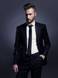Homme élégant bel dans le costume noir Image libre de droits