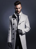 Homme élégant bel dans le manteau d'automne Photo stock