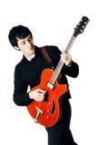 Homme électrique de guitare d'isolement Photo stock