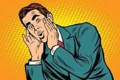 Homme émotif étonné d'affaires d'art de bruit rétro illustration de vecteur