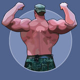 Homme énorme de bande dessinée se tenant du dos dans une posture de bodybuilder illustration de vecteur