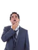 Homme épuisé de dur labeur dans un costume Image stock
