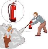 Homme éteignant un feu illustration stock