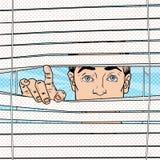 Homme étonné regardant par les abat-jour Illustration d'art de bruit rétro illustration libre de droits