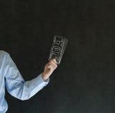 Homme d'investisseur d'ange d'affaires avec des notes des dollars de craie Photos stock