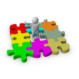 homme 3d avec le jeu de puzzle Photo libre de droits