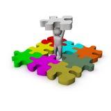 homme 3d avec le jeu de puzzle Photos stock