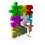 homme 3d avec le jeu de puzzle Photo stock