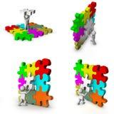 homme 3d avec le jeu de puzzle Images libres de droits